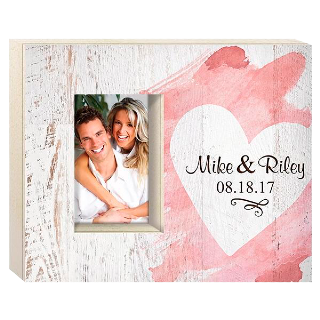 Heart Wooden Frame with Personalization Holds 4x6 photo buy at Florist